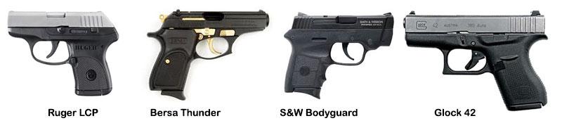 Common lightweight .380 handguns